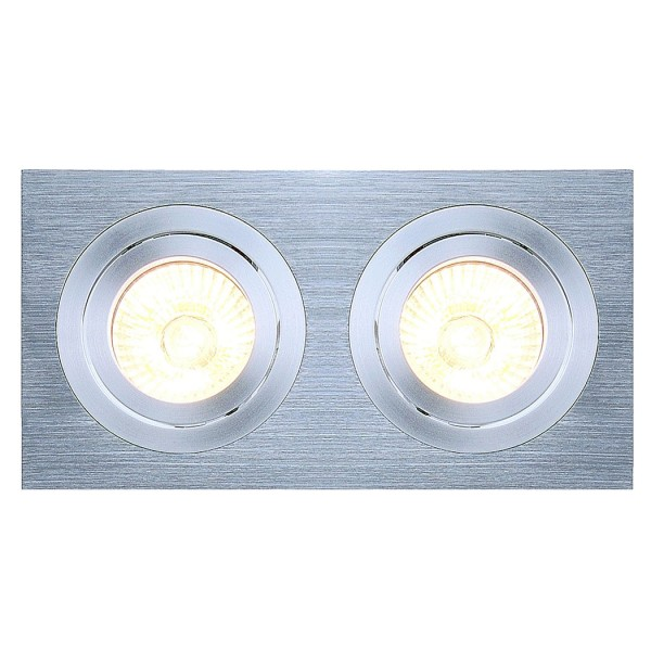 NEW TRIA II MR16 Downlight, rechteckig, alu brushed, max. 2x50W, inkl. Clipfedern