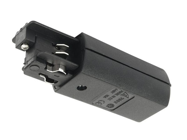 Ivela Schienensystem 3-Phasen 230V, Einspeiser rund rechts, Kunststoff, Schwarz, 230V, 42mm