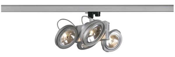 TEC 4, Spot für Hochvolt-Stromschiene 3Phasen, vierflammig, QR111, silbergrau, max. 200W