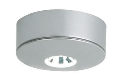 Möbelein / Aufbauleuchte , LED 1x1W, warm weiß, mit 500 mm AMP Kabel, Farbe matt silber, konstant 35