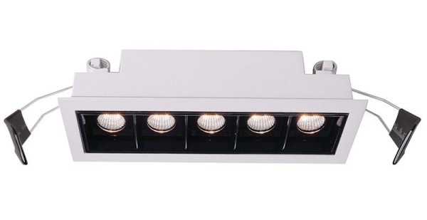 Deko-Light Deckeneinbauleuchte, Ceti 5, Aluminium Druckguss, weiß matt, Warmweiß, 45°, 10W, 14-15V