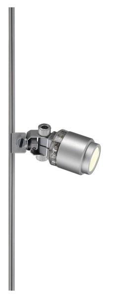 POWER-LED SPOT, für Niedervolt-Stromschiene Vitrinenschiene, LED, 3000K, silbergrau, 1W