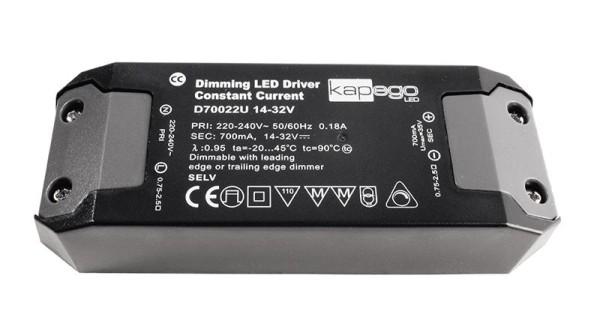 Deko-Light Netzgerät, BASIC, D70022U, Kunststoff, Schwarz, 22W, 14-32V, 700mA, 127x44mm