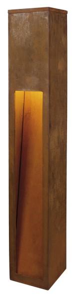 RUSTY SLOT 80, Outdoor Standleuchte, TC-DSE, IP44, eisen gerostet, L/B/H 12/12/80 cm, max. 11W