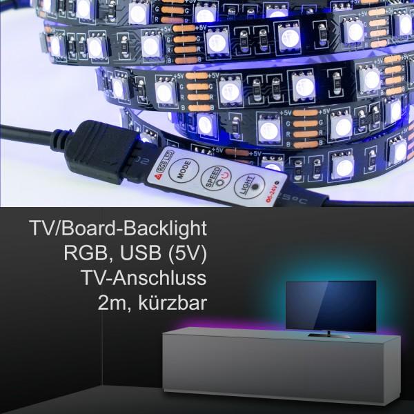 TV/Board Ambience Backlight, LED-Strip inkl. Controller, 2m, RGB, USB 5V, für Samsung, Sony u.a.