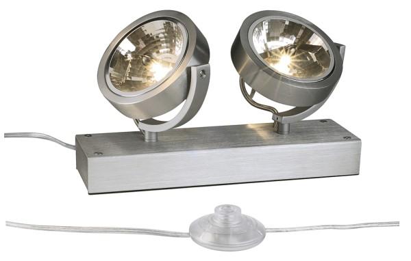 KALU FLOOR 2, Standleuchte, zweiflammig, QR-LP111, rund, aluminium gebürstet, max. 100 W