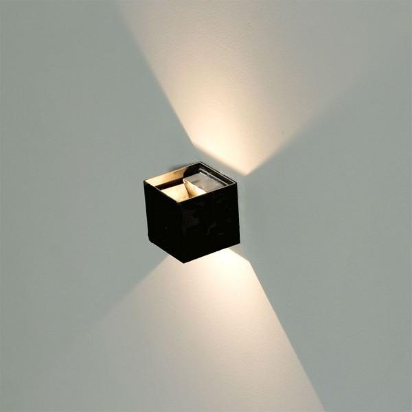 LED Wandleuchte, up/down, 3000K, 6W, eckig, schwarz, IP65, inkl. LED-Treiber