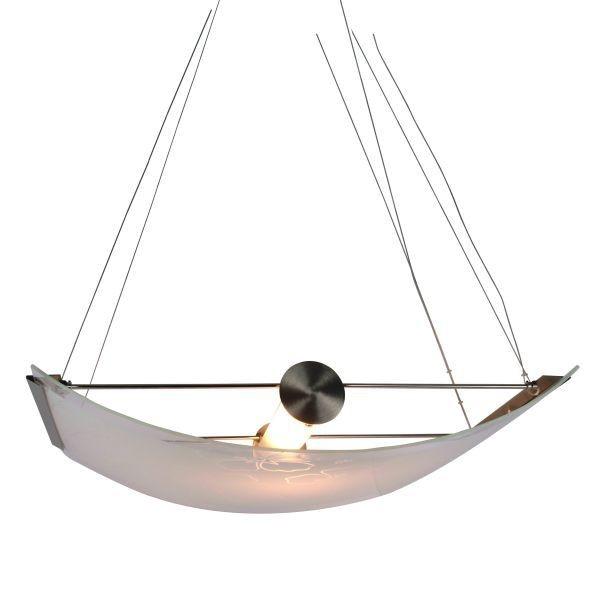 Hängeleuchte Ibiscus, Edelstahloptik, Glas weiß gemustert, R7s 118 mm, max. 300 Watt, exkl. Leuchtmi