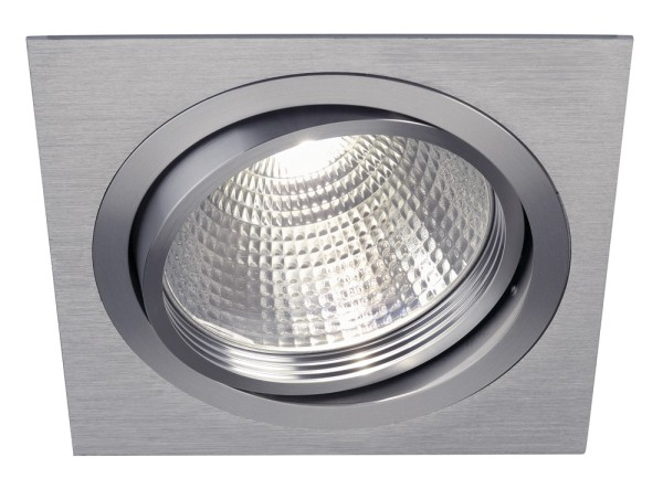 NEW TRIA G12, Einbauleuchte, eckig, aluminium gebürstet, inkl. 38° Reflektor, max. 70W