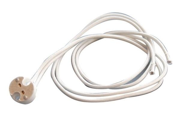 Deko-Light Zubehör, Fassung GU5,3 mit 50 cm Kabel, Keramik, Weiß, 50W, 12V, 500mm