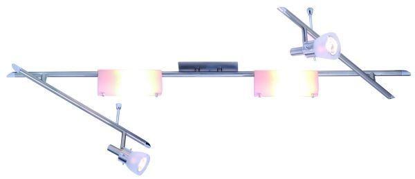 Deckenleuchte Flexa, Edelstaloptik, Glas satiniert, 230V, G9 + GU10, max 2x40W G9 + max 2x50W GU10,