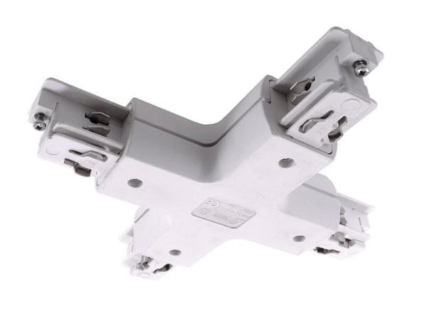 Ivela Schienensystem 3-Phasen 230V, X-Verbinder rund, Kunststoff, Weiß, 230V, 120mm