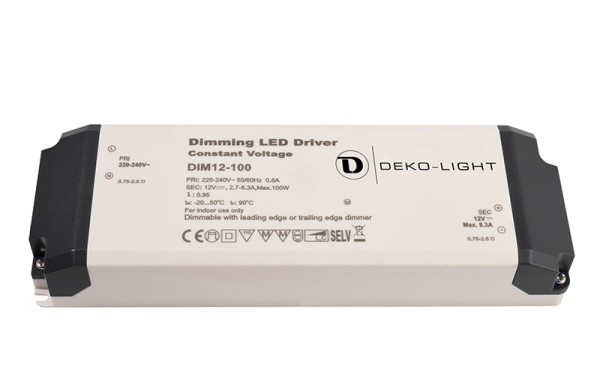 Deko-Light Netzgerät, Dimmable CV Power Supply 12V 34-100W, Kunststoff, Weiß, 100W, 12V, 8300mA