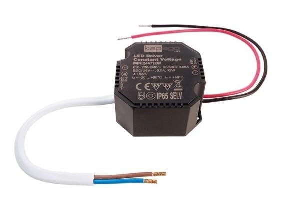 Deko-Light Netzgerät, OCTO, Mini 24V/12W, Kunststoff, Schwarz, 12W, 24V, 500mA, 50x48mm