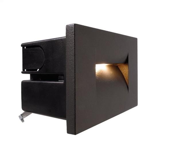 Deko-Light Wandeinbauleuchte, Yvette I A, Aluminium Druckguss, anthrazit, Warmweiß, 22°, 3W, 230V