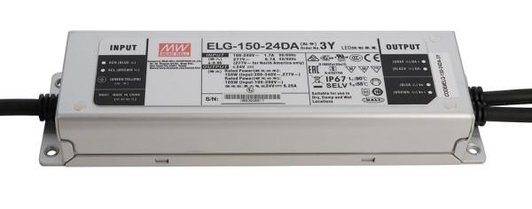 Meanwell Netzgerät, ELG-150-24DA-3Y, Aluminium, Silber, 120W, 24V, 6250mA, 219x63mm