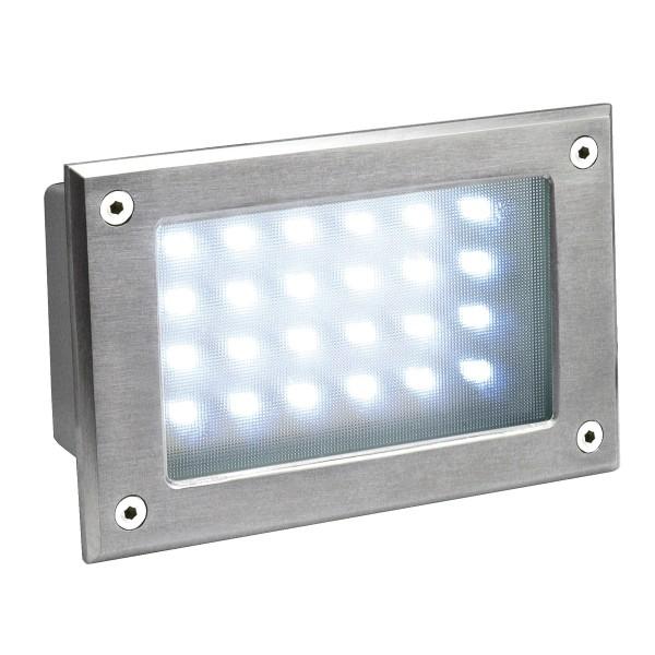 BRICK 24 LED, Outdoor Wandeinbauleuchte, 6500K, IP54, edelstahl