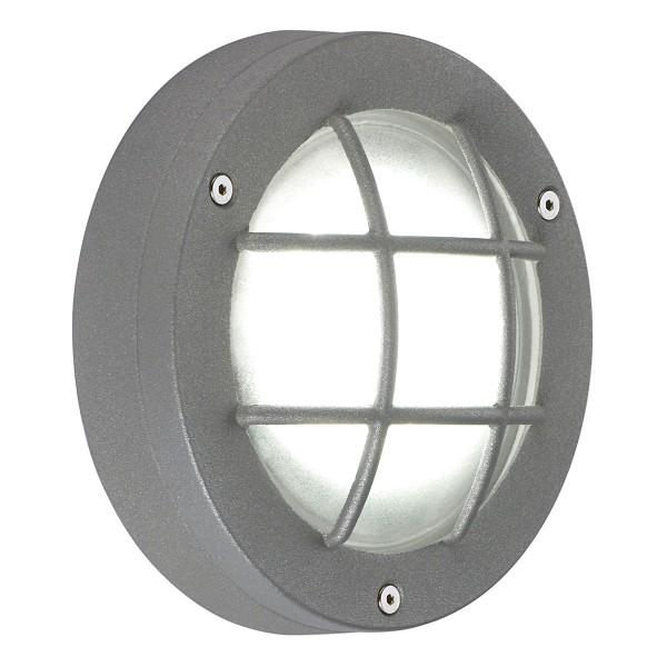 DELSIN, Wand- und Deckenleuchte, LED, 6500K, IP44, steingrau, Glas satiniert