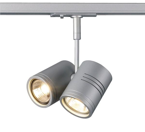 BIMA 2, Spot für Hochvolt-Stromschiene 1Phasen, zweiflammig, QPAR51, silbergrau, max. 50W