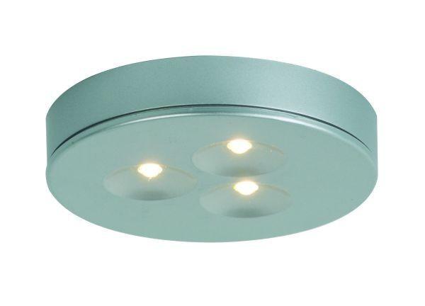 Möbelein / Aufbauleuchte , LED 3x1W, warm weiß, mit 500 mm AMP Kabel, Farbe matt silber, konstant 35