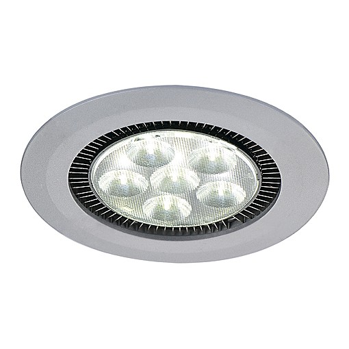 DOME LED Downlight, rund, silbergrau, 6x3W LED, 5700K