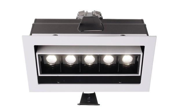 Deko-Light Deckeneinbauleuchte, Ceti 5 Adjust, Aluminium Druckguss, weiß matt, Warmweiß, 45°, 10W