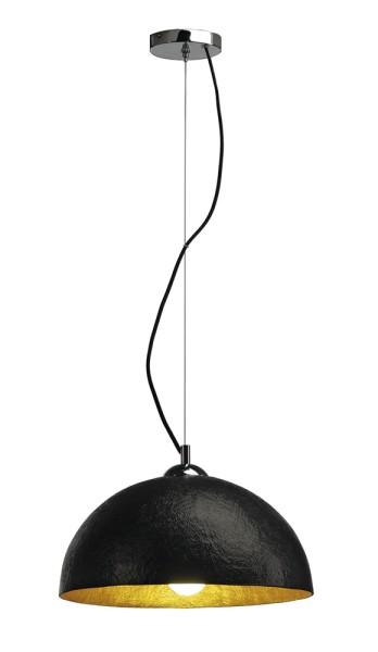 FORCHINI PD-2, Pendelleuchte, A60, rund, schwarz matt/gold, Ø 38 cm, max. 40W