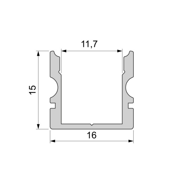 Reprofil, U-Profil hoch AU-02-10 für LED Stripes bis 11,3 mm, Silber-matt, eloxiert, 1000 mm