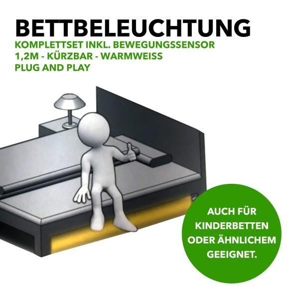 LED-Strip Bettbeleuchtung/Komplettset inkl. Bewegungssensor, 1,2m, Warmweiß