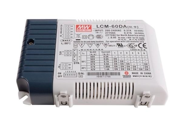 Meanwell Netzgerät, LCM-60DA Integration in DALI-Netzwerke, Kunststoff, Weiß, 60W, 2-90V, 500mA