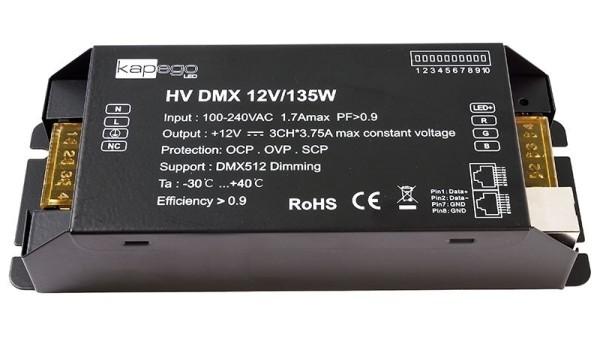 Deko-Light Netzgerät, HV DMX 12V/135W, Metall, Schwarz, 135W, 12V, 196x75mm