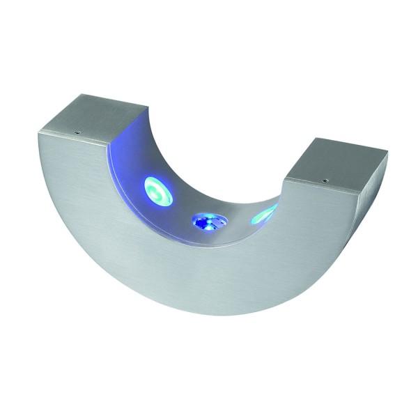 HALF PIPE Wandleuchte, halbrund, alu brushed, 3x1W blaue LED