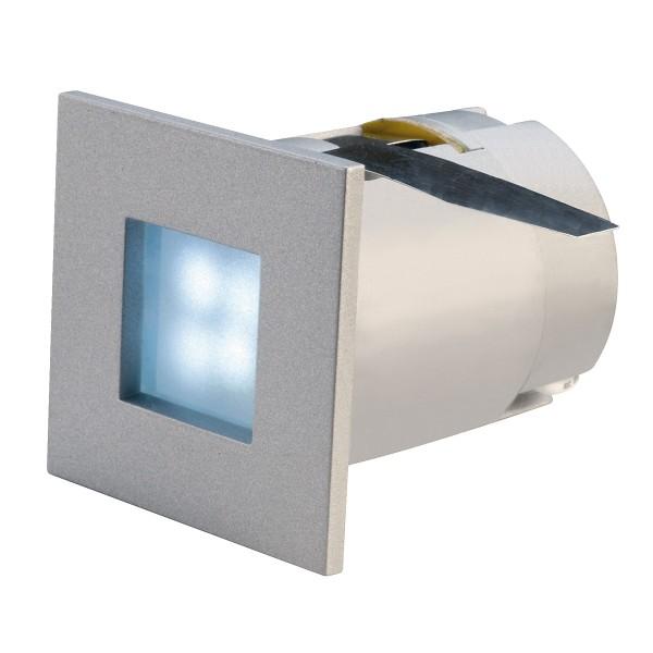 MINI FRAME, Einbauleuchte, LED, blau, eckig, silbergrau, 0,3W, 4 LED,
