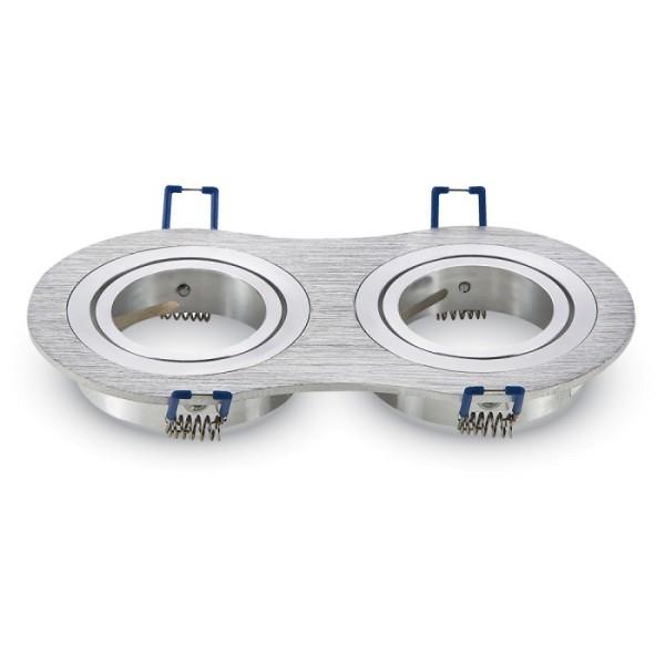 Einbauleuchte JUST RIM R2 für GU10 Sockel, rund, aluminium gebürstet, max. 2x35W, inkl. Clipfedern