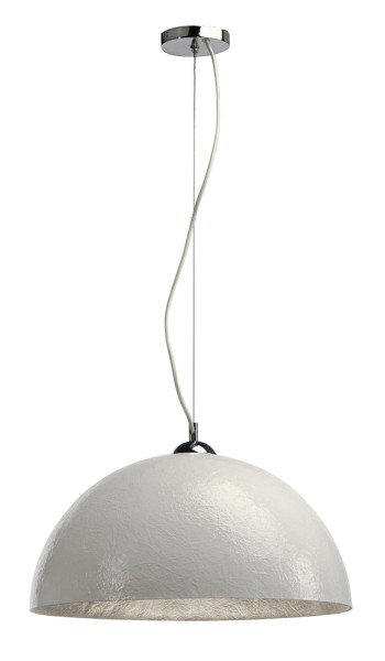FORCHINI PD-1, Pendelleuchte, A60, rund, weiß matt/silber, Ø 50 cm, max. 40W