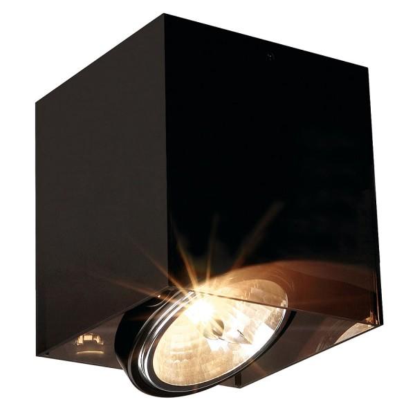 ACRYLBOX SINGLE QRB111 Deckenleuchte, eckig, schwarz/ transluzent, max. 1x75W