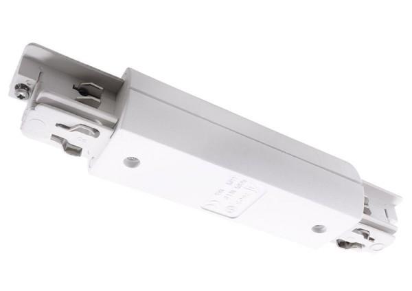 Ivela Schienensystem 3-Phasen 230V, Längsverbinder rund mit Einspeisemöglichkeit, Kunststoff, Weiß