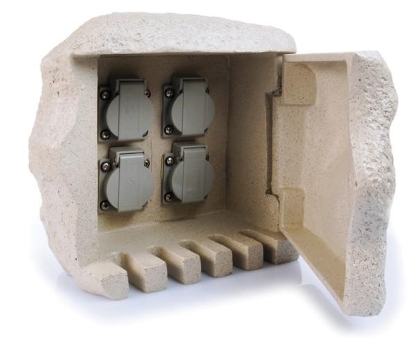 Steinsteckdose 4 fach für Außenbereich