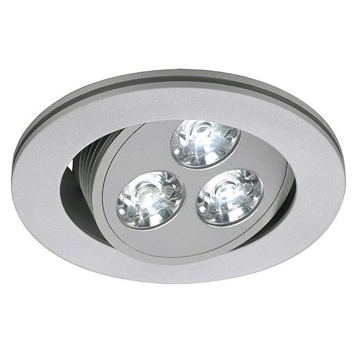 TRITON 3 LED Downlight, rund, silbergrau, 3x1W LED, schwenkbar, 6500K