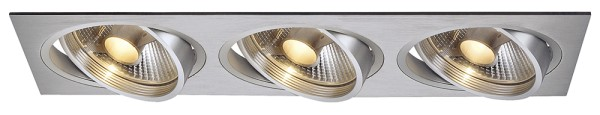 NEW TRIA 3, Einbauleuchte, dreiflammig, QPAR111, rechteckig, aluminium gebürstet, max. 225W