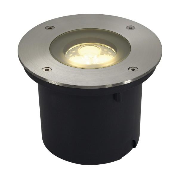 WETSY, Outdoor Bodeneinbauleuchte, LED, 3000K, IP67, rund, edelstahl 316, Glas teilsatiniert, 3W