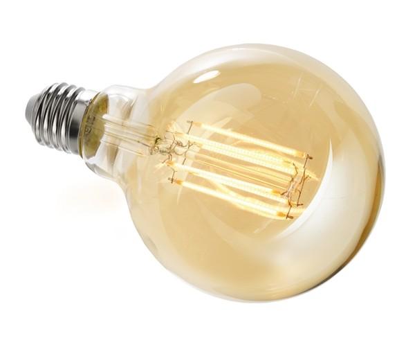 Deko-Light Leuchtmittel, Filament E27 G95 2200K, Glas, Amber, Warmweiß, 300°, 8W, 230V, 44mA, 140mm