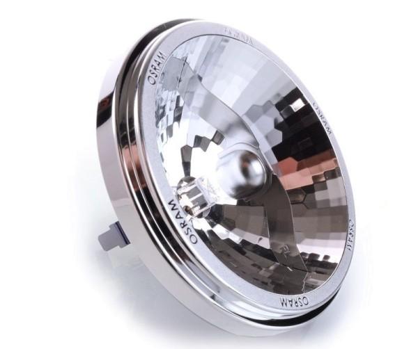 Osram Leuchtmittel, Reflektorlampe Halospot 111, Aluminium, Warmweiß, 24°, 50W, 12V, 67mm