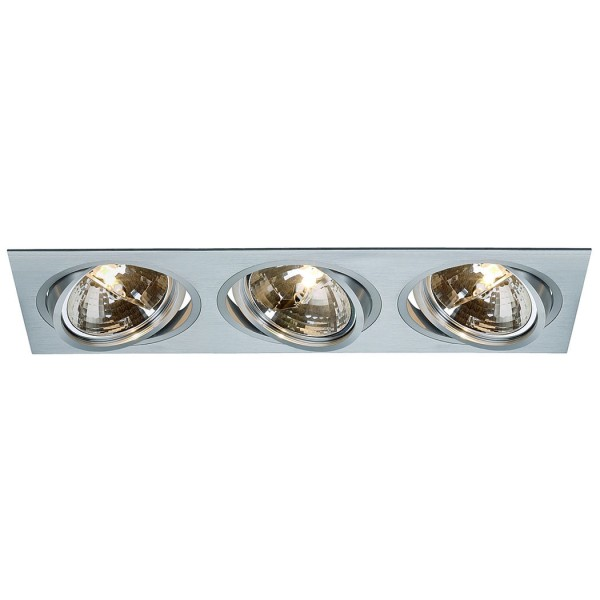 NEW TRIA III QRB111 Downlight, rechteckig, alu brushed, max. 3x75W, inkl. Clipfedern