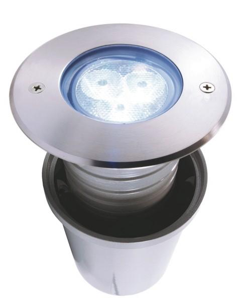 LED Bodeneinbauleuchte, 3x2 W, kaltweiß, rund