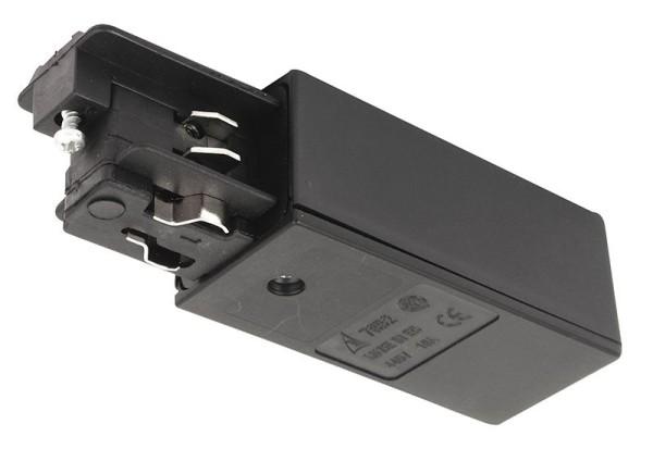 Ivela Schienensystem 3-Phasen 230V, Einspeiser quadratisch rechts, Kunststoff, Schwarz, 230V