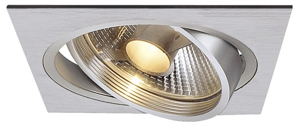 NEW TRIA 1, Einbauleuchte, einflammig, QPAR111, eckig, aluminium gebürstet, max. 75W