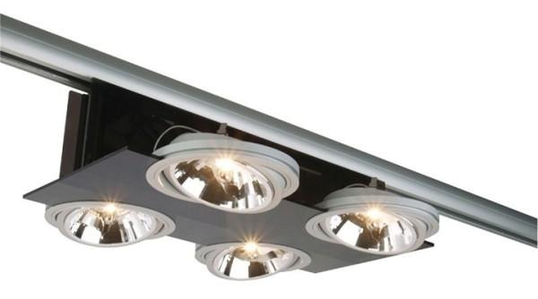 Kapego Schienensystem 3-Phasen 230V, Parasol II, exklusive Leuchtmittel, Schwarz, Anzahl Sockel: 4