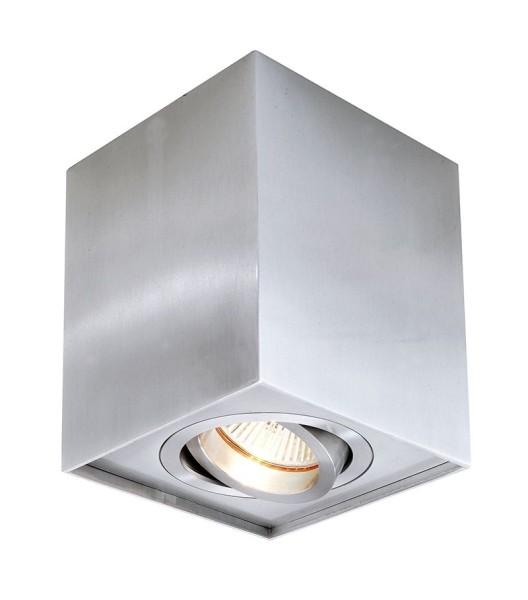 Deko-Light Deckenaufbauleuchte, Dato, Aluminium, silberfarben gebürstet, 50W, 230V, 96x96mm