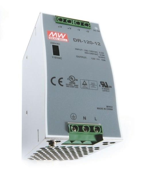 Meanwell Netzgerät, DR-120-12, Metall, Silber, 120W, 12V, 10000mA, 66x100mm